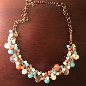Coral, Teal, White, and Gold ball necklace!